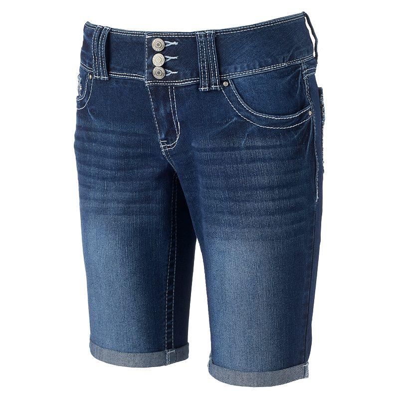 Juniors' Amethyst Roll-Cuff Bermuda Shorts