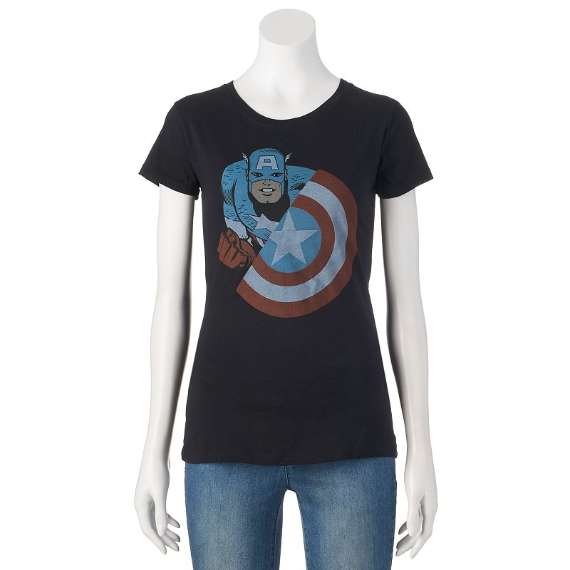 Juniors' Marvel Captain America Graphic T-Shirt