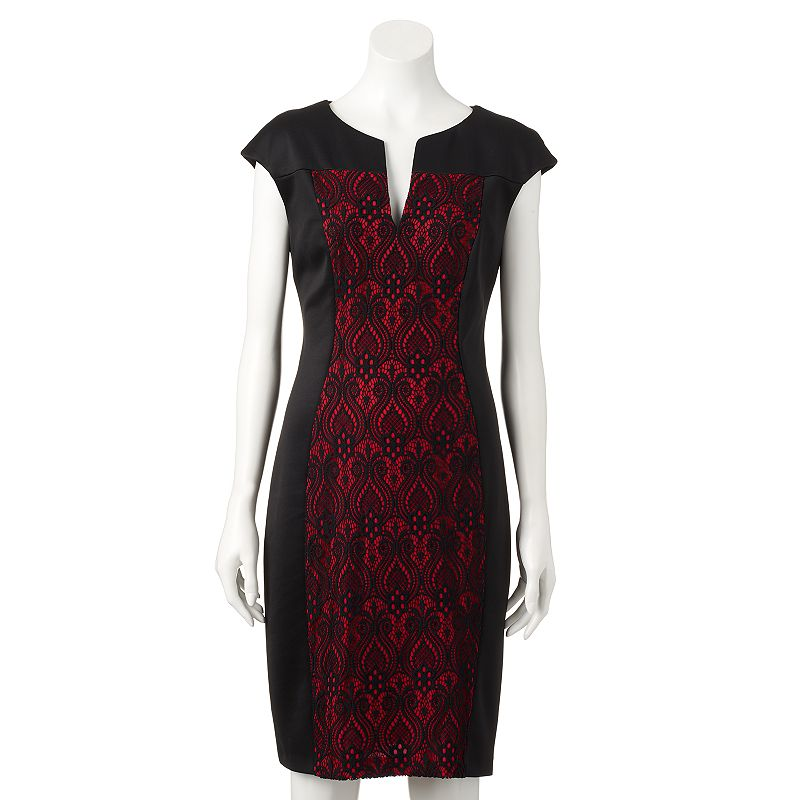 Women's Connected Apparel Lace Sheath Dress