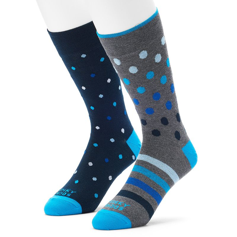 Men's Funky Socks 2-pack Dot & Striped Crew Socks