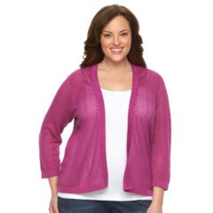 Plus Size Croft & Barrow® Chevron Pointelle Open-Front Cardigan