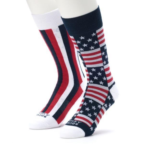 Men's Funky Socks 2-pack Americana Crew Socks