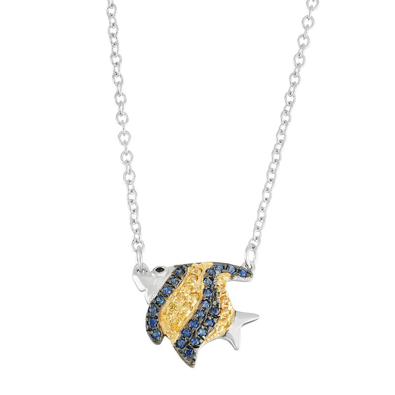 Sterling Silver Lab-Created Blue & Yellow Sapphire Fish Necklace
