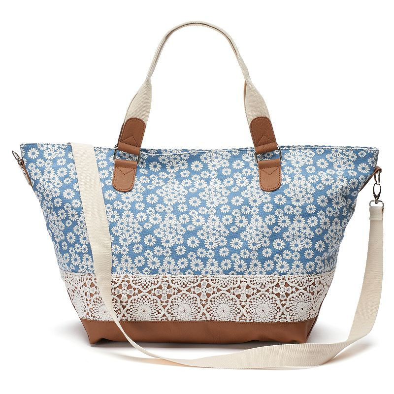 Mudd® Floral Crocheted Weekender Bag
