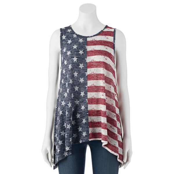 Juniors' Cloud Chaser Patriotic Flag Sharkbite Tank Top