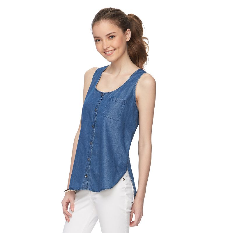 Juniors' Mudd® Button-Down Sleeveless Top
