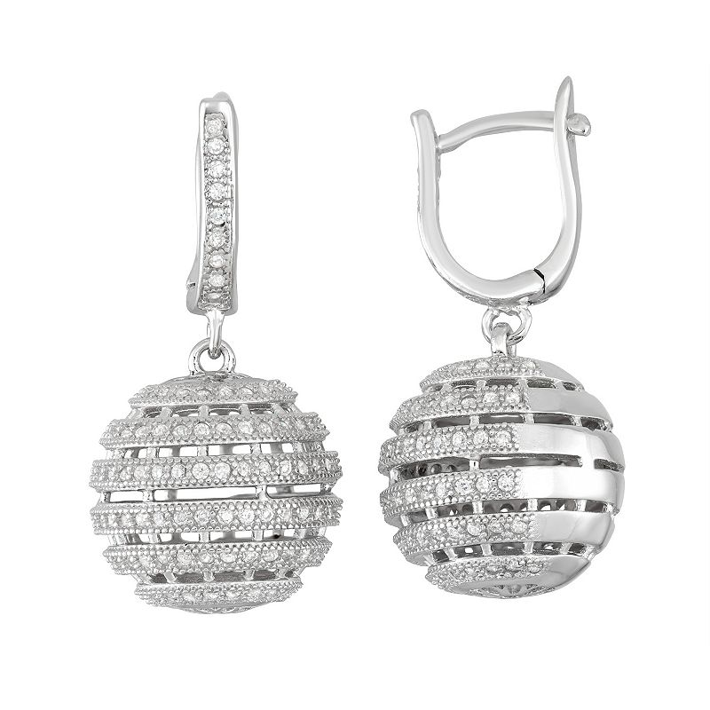 Sterling Silver Cubic Zirconia Ball Drop Earrings