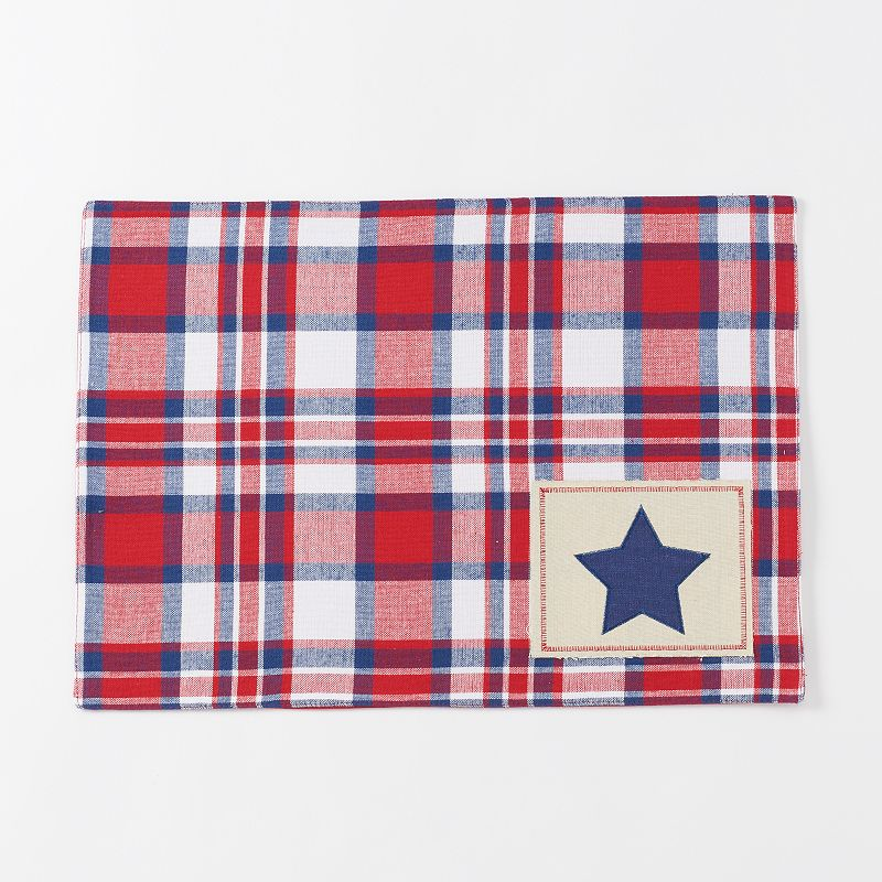 Celebrate Americana Together Plaid Star Patch Placemat