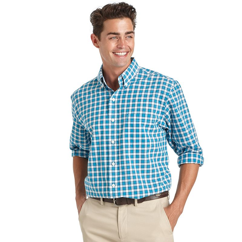 Men's IZOD Hampton Classic-Fit Gingham-Plaid Poplin Button-Down Shirt