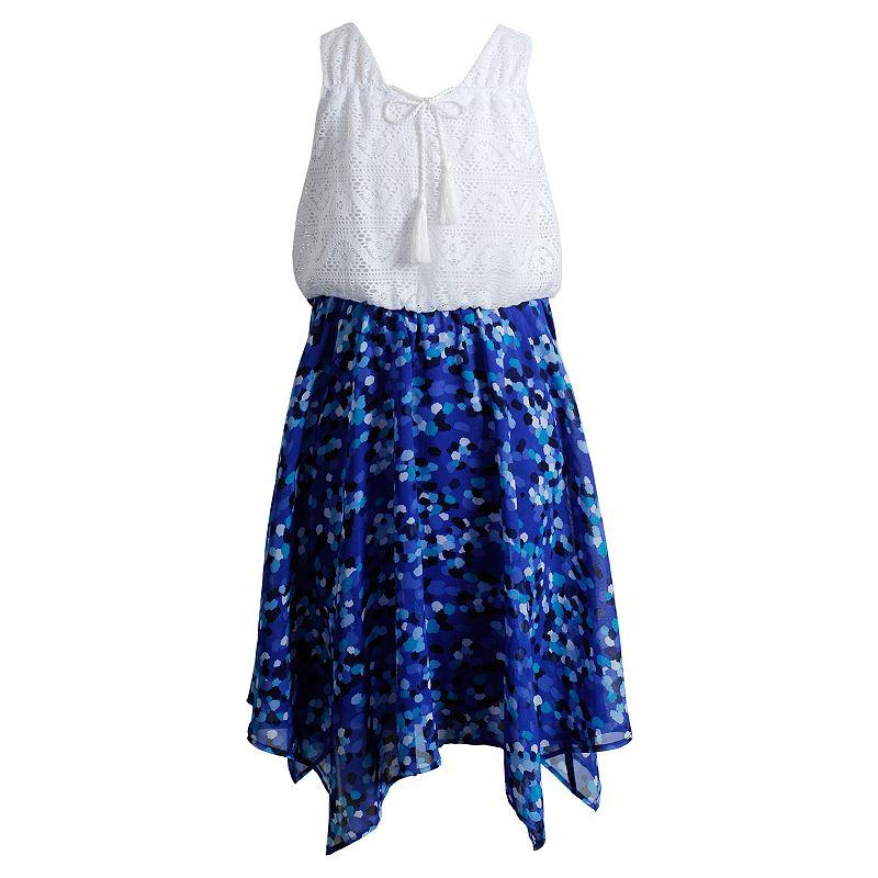Girls 7-16 Emily West Mixed Media Handkerchief Dress