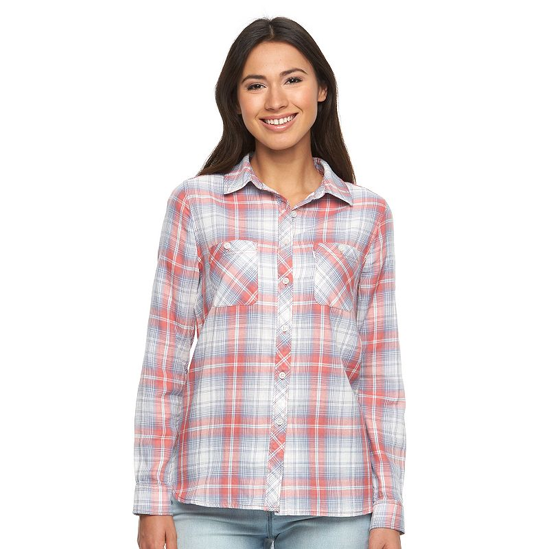Women's Levi's Relaxed Boyfriend High-Low Plaid Shirt