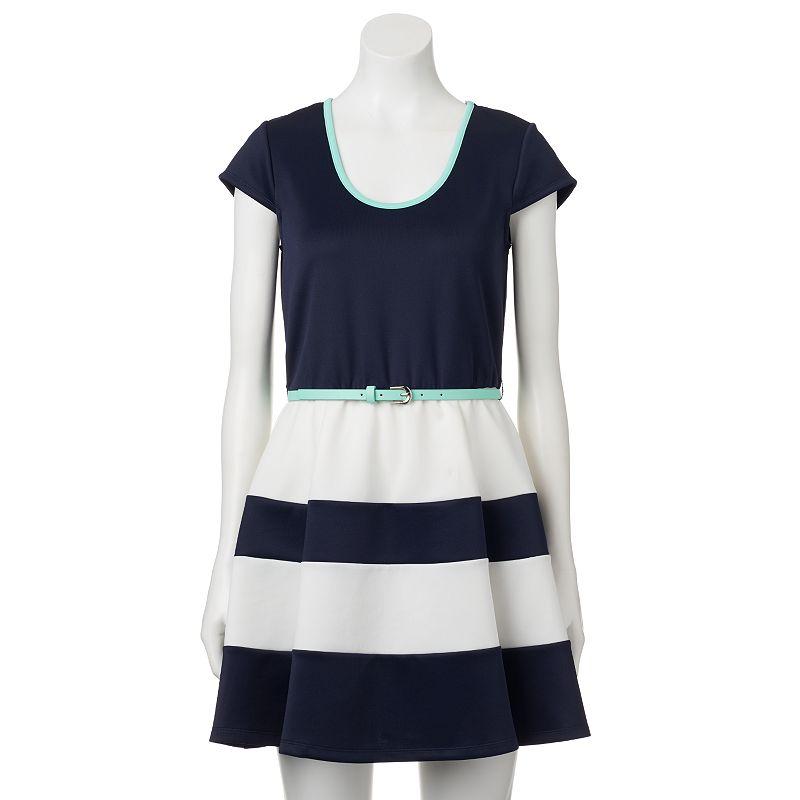 Juniors' Trixxi Striped Scuba Skater Dress
