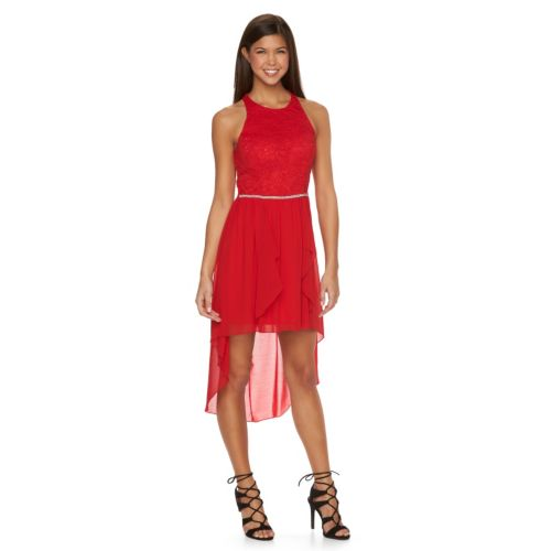 Juniors' City Triangles Lace High-Low Halter Dress