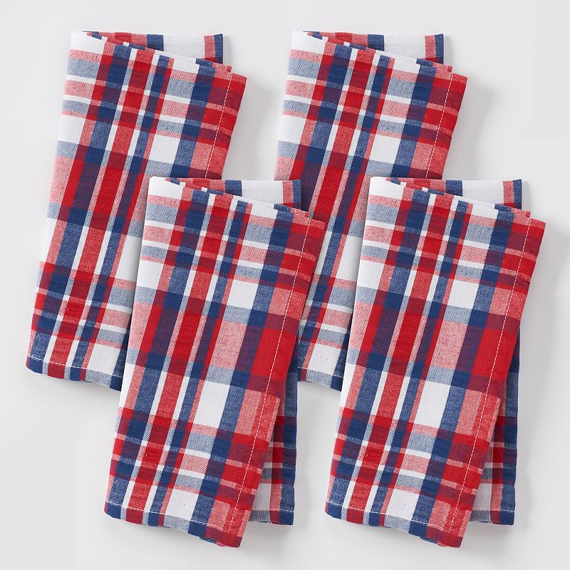 Celebrate Americana Together Red, White & Blue Plaid Napkins 4-pk.