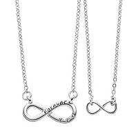 Side by Side Crystal Mother & Daughter Infinity Necklace Set