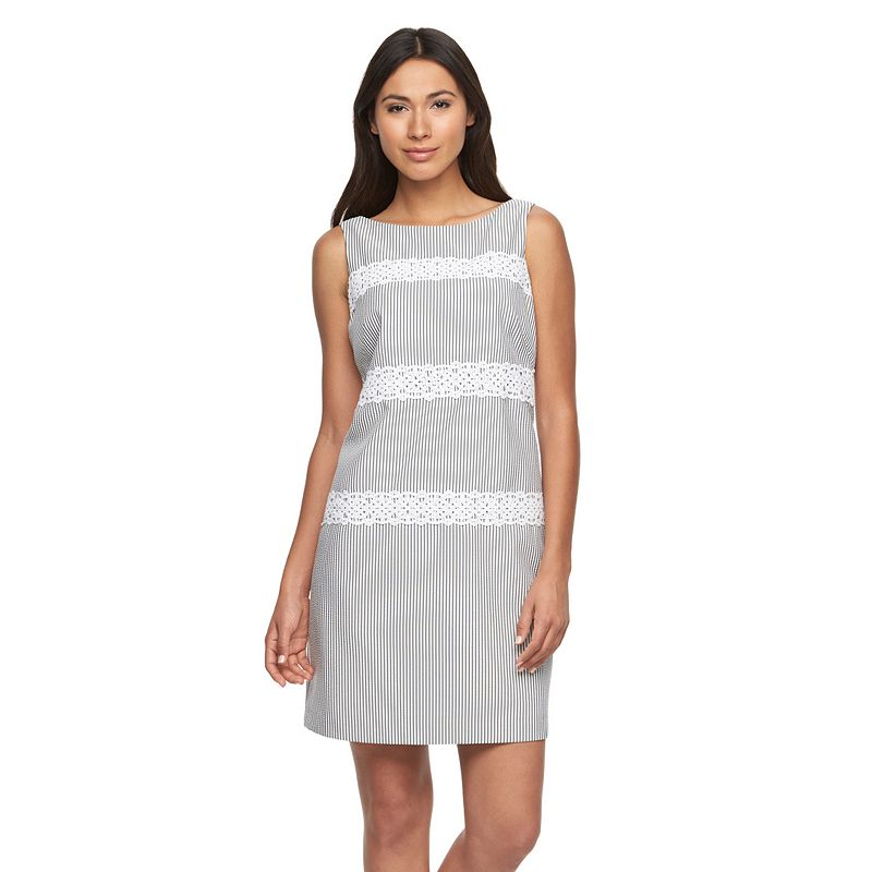 Petite Suite 7 Pinstriped Lace Shift Dress