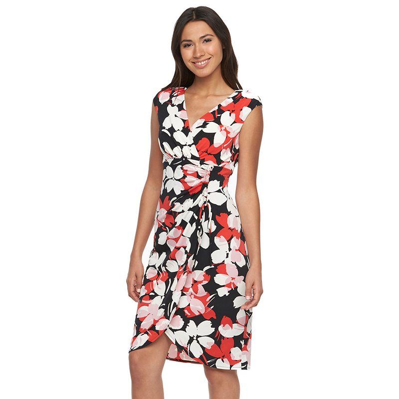Petite Suite 7 Floral Faux-Wrap Dress