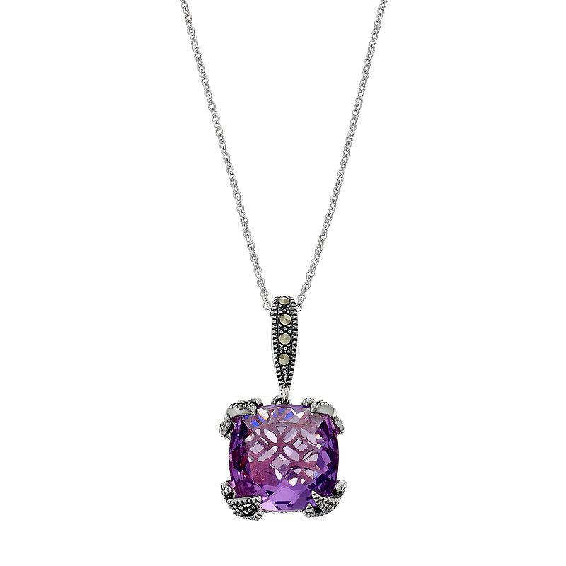 Lavish by TJM Sterling Silver Lab-Created Amethyst & Marcasite Pendant