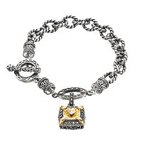 Lavish by TJMSterling Silver Cubic Zirconia & Marcasite Charm Bracelet