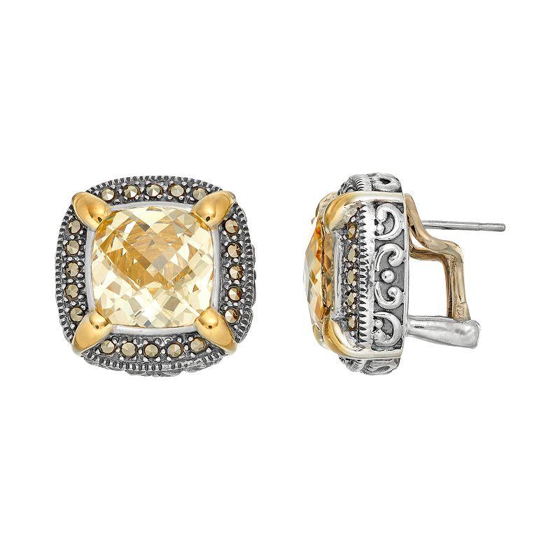 Lavish by TJM Sterling Silver Cubic Zirconia & Marcasite Halo Stud Earrings