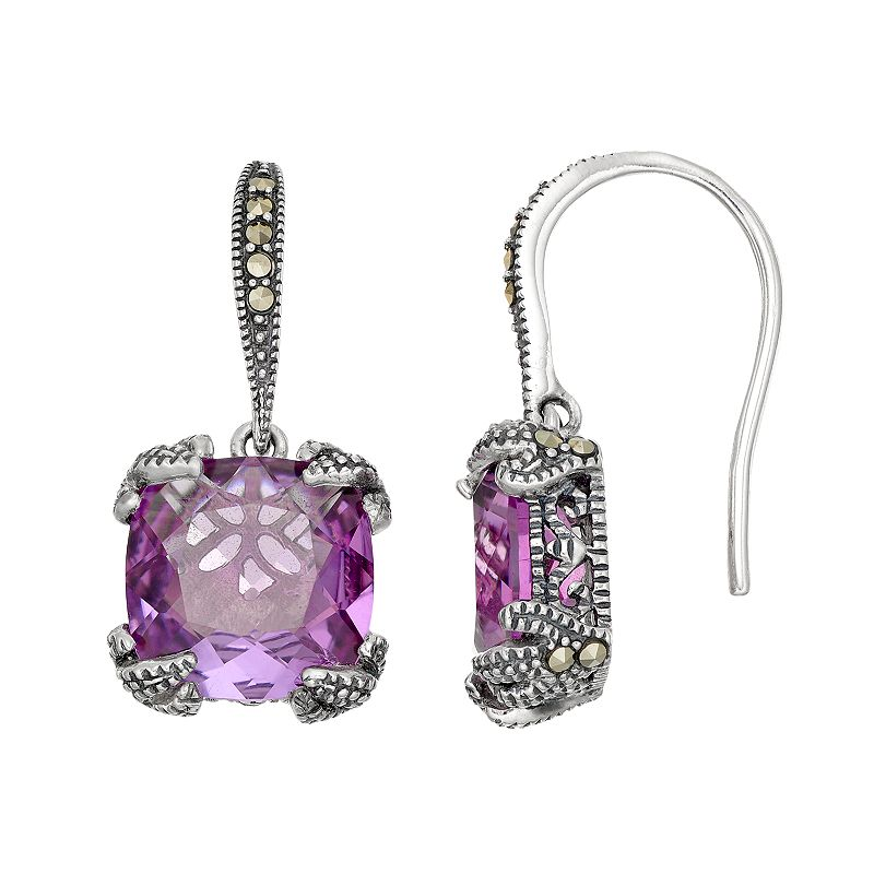 Lavish by TJM Sterling Silver Lab-Created Amethyst & Marcasite Drop Earrings