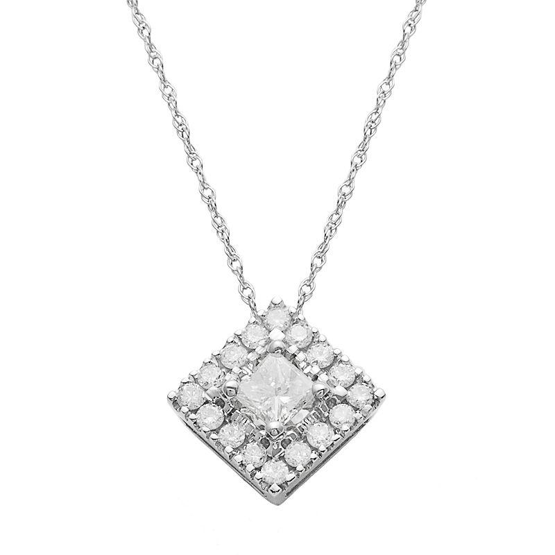 14k White Gold 1/2 Carat T.W. IGI Certified Diamond Pendant