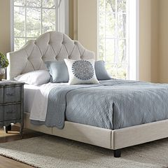 Button Tufted Saddle Queen Platform Bed by