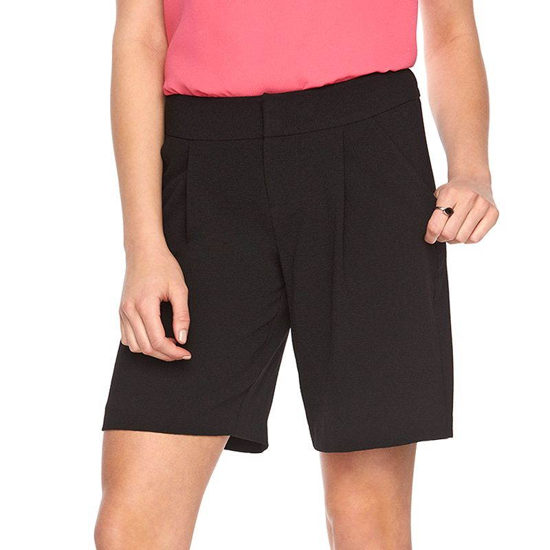 Women's ELLE™ Pleated Bermuda Shorts