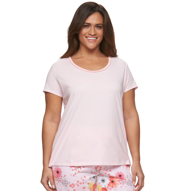 Plus Size Jockey Pajamas: Solid Scoopneck Sleep Tee