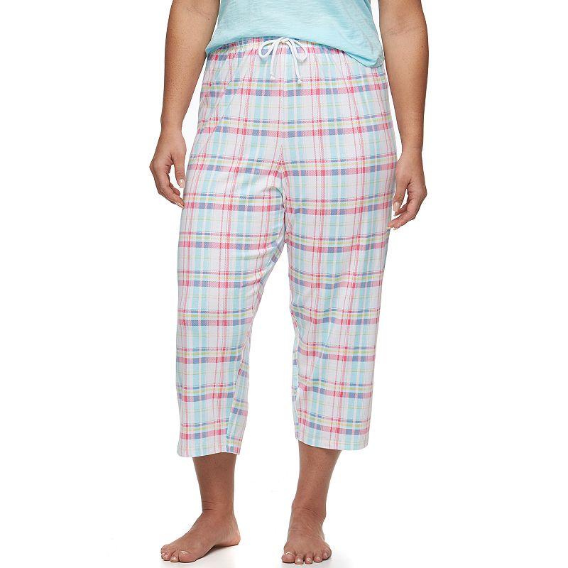 Plus Size Jockey Pajamas: Plaid Sleep Capris