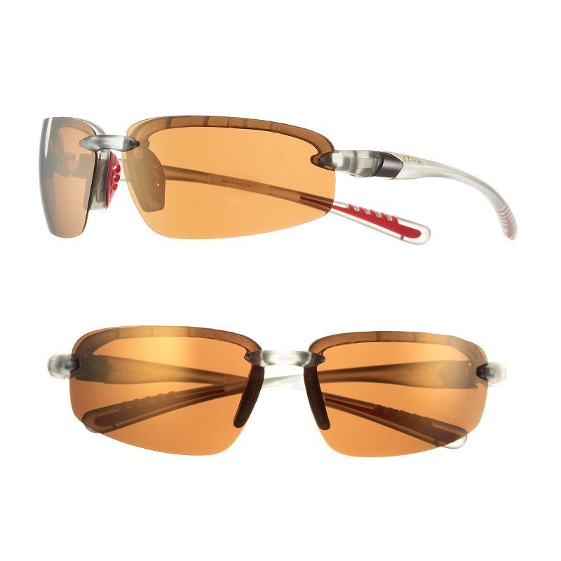 Men's IZOD Polarized Wrap Semirimless Blade Sunglasses