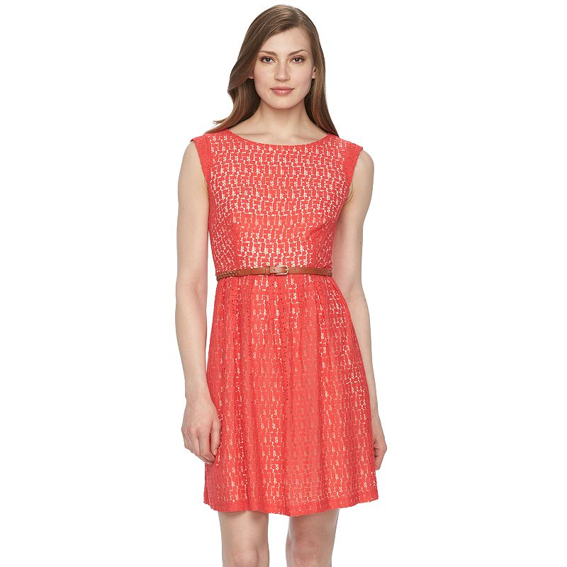 Women's Connected Apparel Pleated Lace Fit & Flare Dress