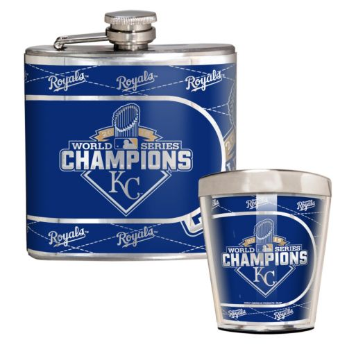 Kansas City Royals 2015 World Series Champions Flask & Shot Glass Set