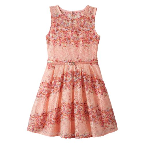 Girls 7-16 Knitworks Floral Lace Dress