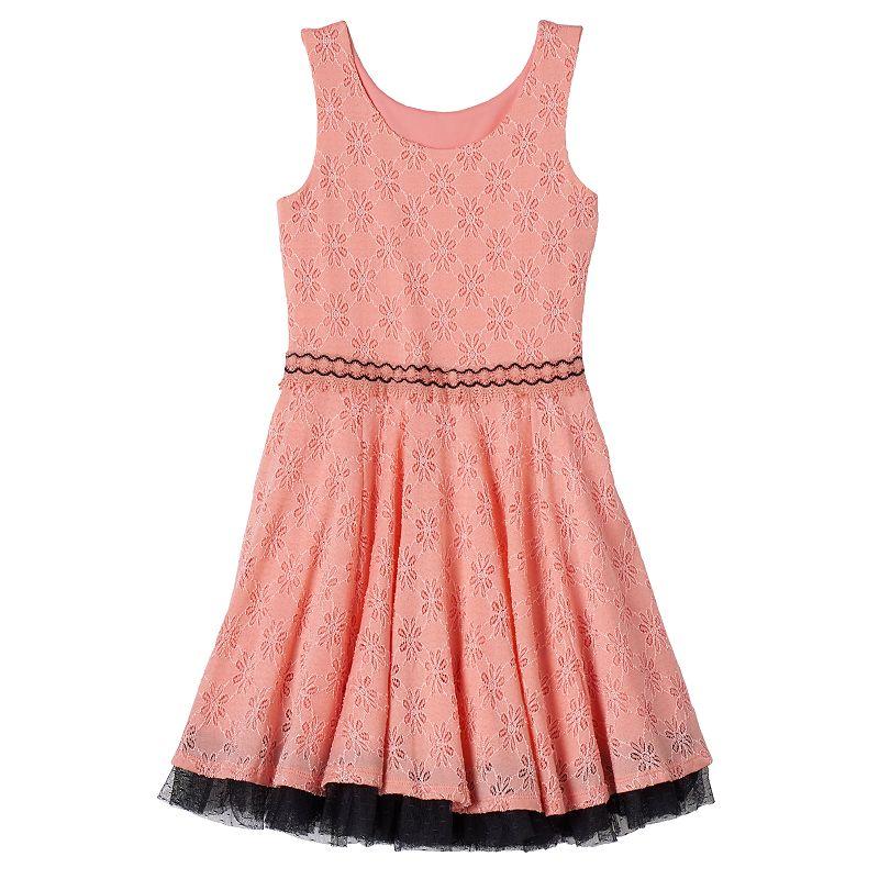 Girls 7-16 Knitworks Embellished Lace Skater Dress
