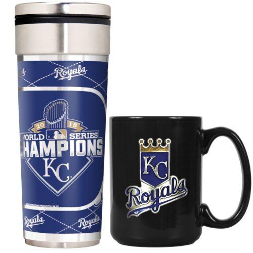 Kansas City Royals 2015 World Series Champions Travel Tumbler & Coffee Mug Set