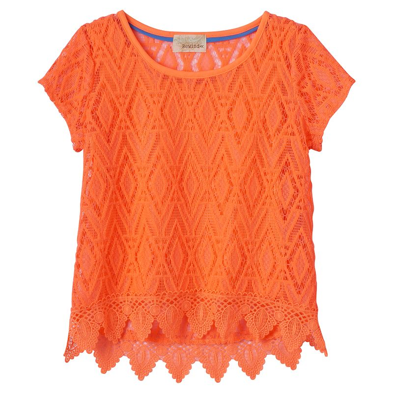 Girls 7-16 Rewind Solid Lace Top
