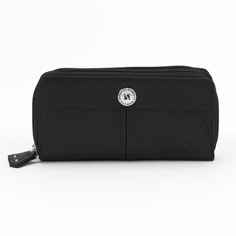 Stone & Co. Nancy Leather Double-Zip Checkbook Wallet