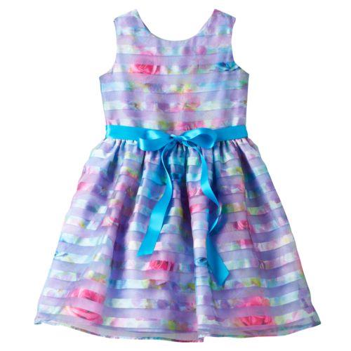 Girls 4-6x Lavender by Us Angels Shadow Stripe Floral Dress