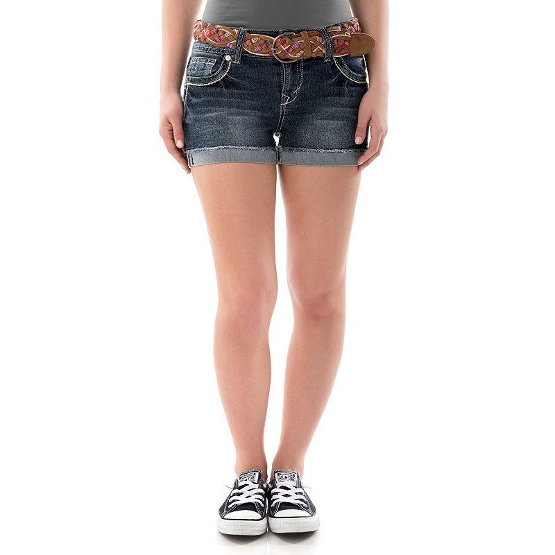 Juniors' Wallflower Faded Cutoff Denim Shortie Shorts