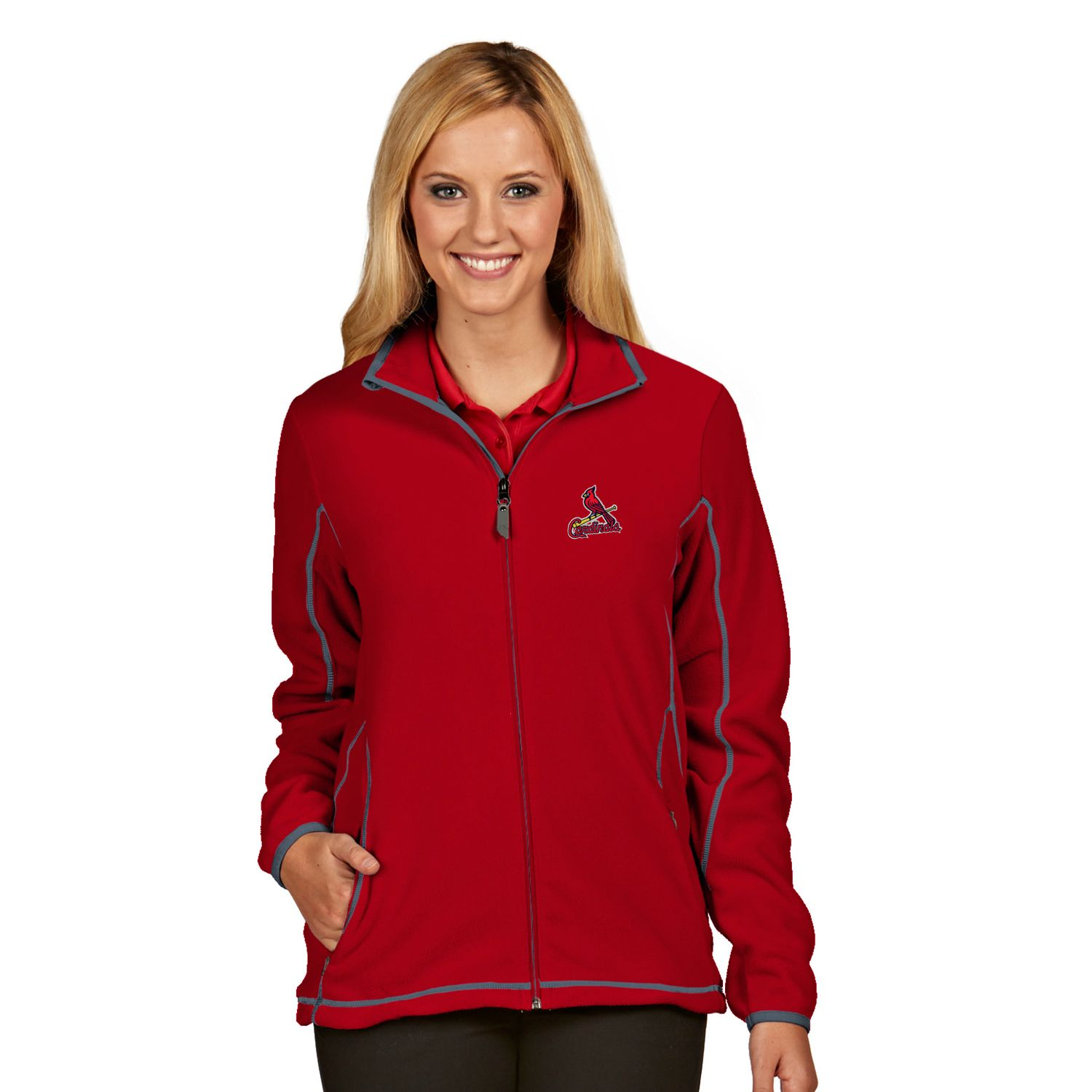 Womens Antigua St. Louis Cardinals Ice Polar Fleece Jacket