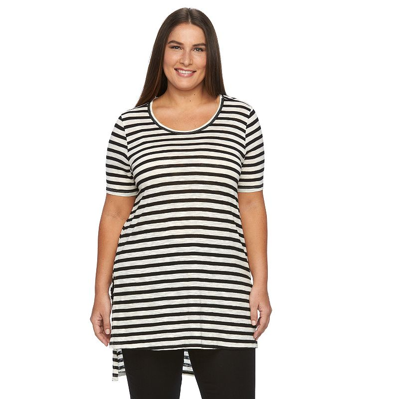 Plus Size Loramendi Striped Scoopneck Tunic