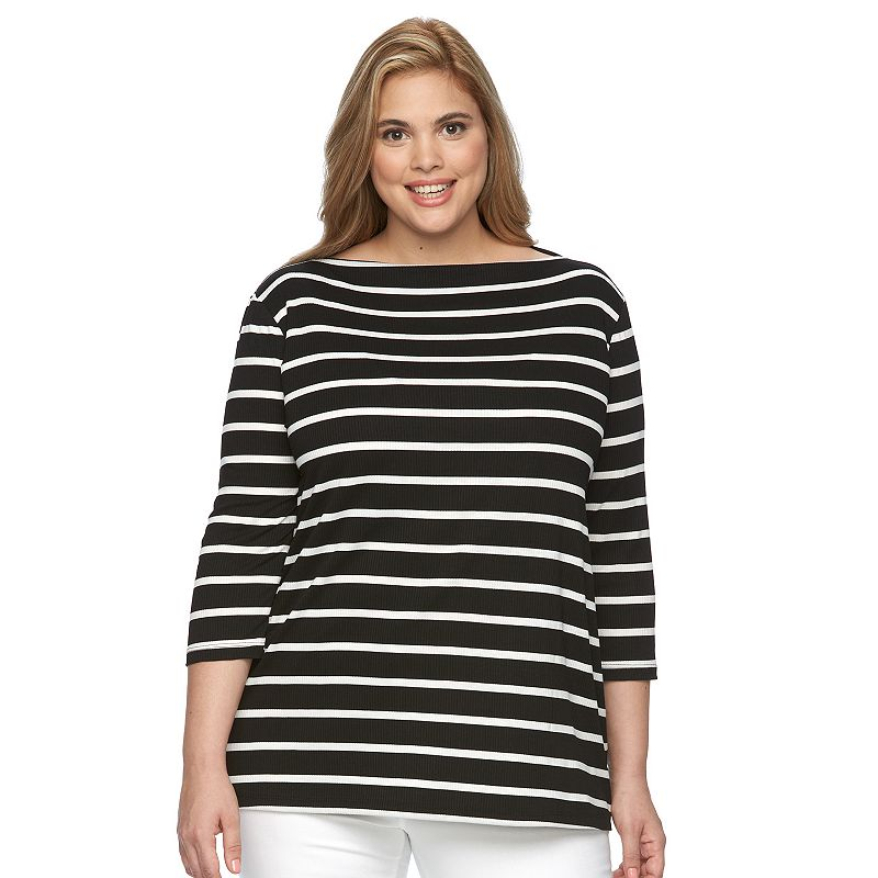 Plus Size Loramendi Striped Ribbed Boatneck Sweater