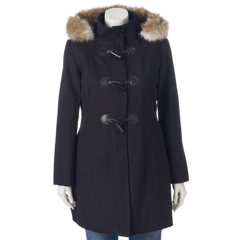 Plus Size Braetan Hooded Toggle Wool Blend Coat
