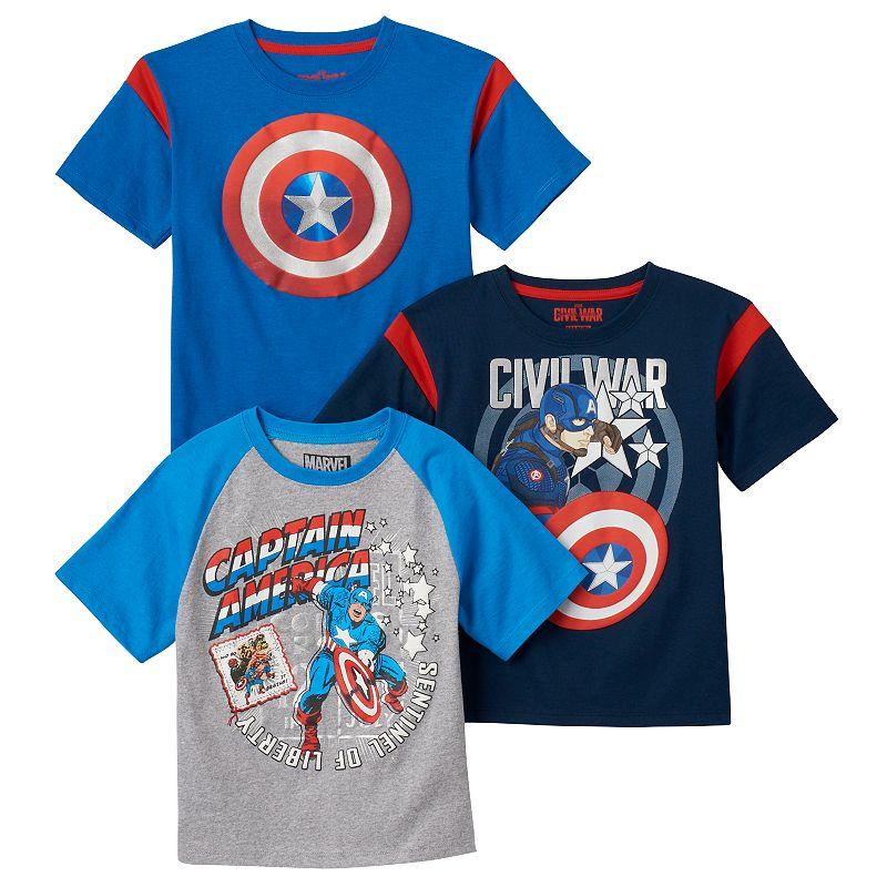 Boys 4-7 3-pk. Marvel Captain America: Civil War Tees
