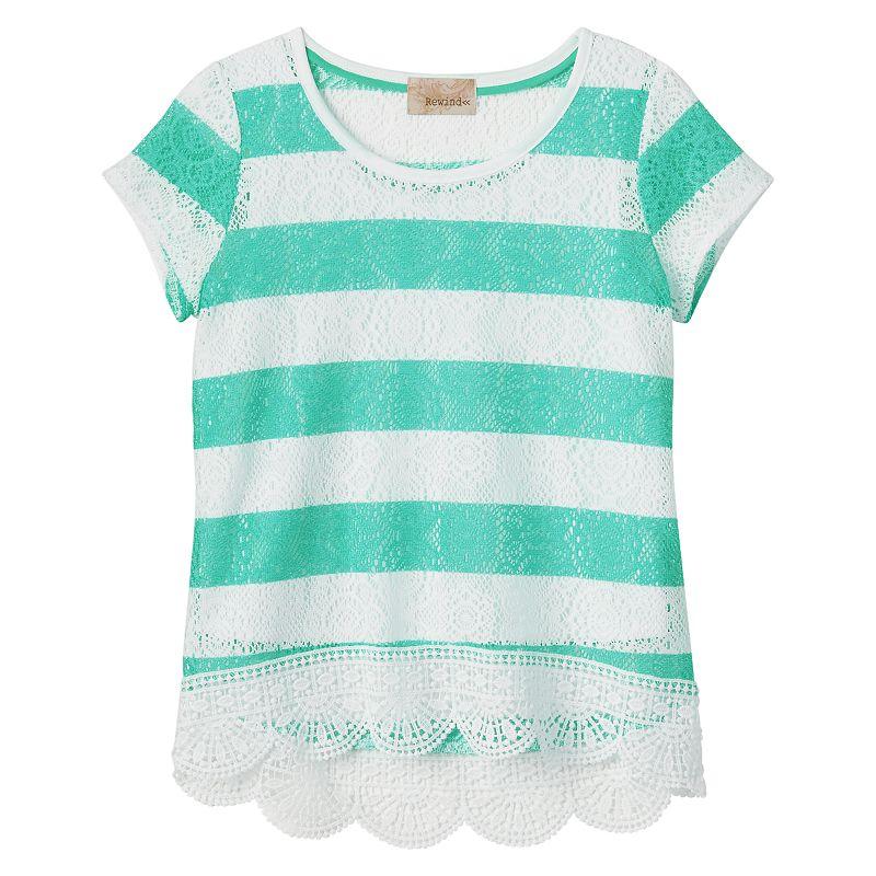 Girls 7-16 Rewind Striped Lace Hem Top