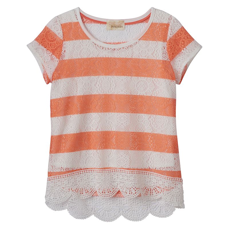 Girls 7-16 Rewind Striped Lace Hem Top