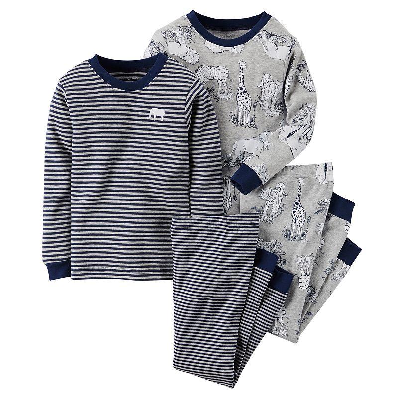 Toddler Boy Carter's Striped & Printed Long Sleeve Pajama Set