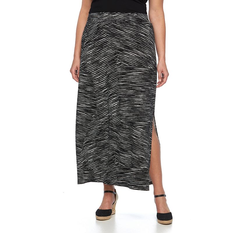 Plus Size Apt. 9® Contrast Stripe Maxi Skirt