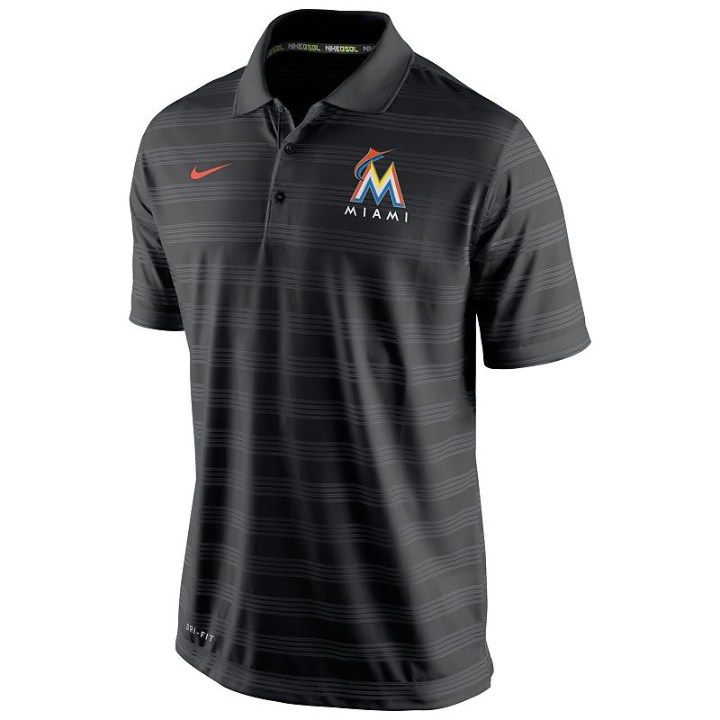Men's Nike Miami Marlins Striped Dri-FIT Performance Polo 1.5